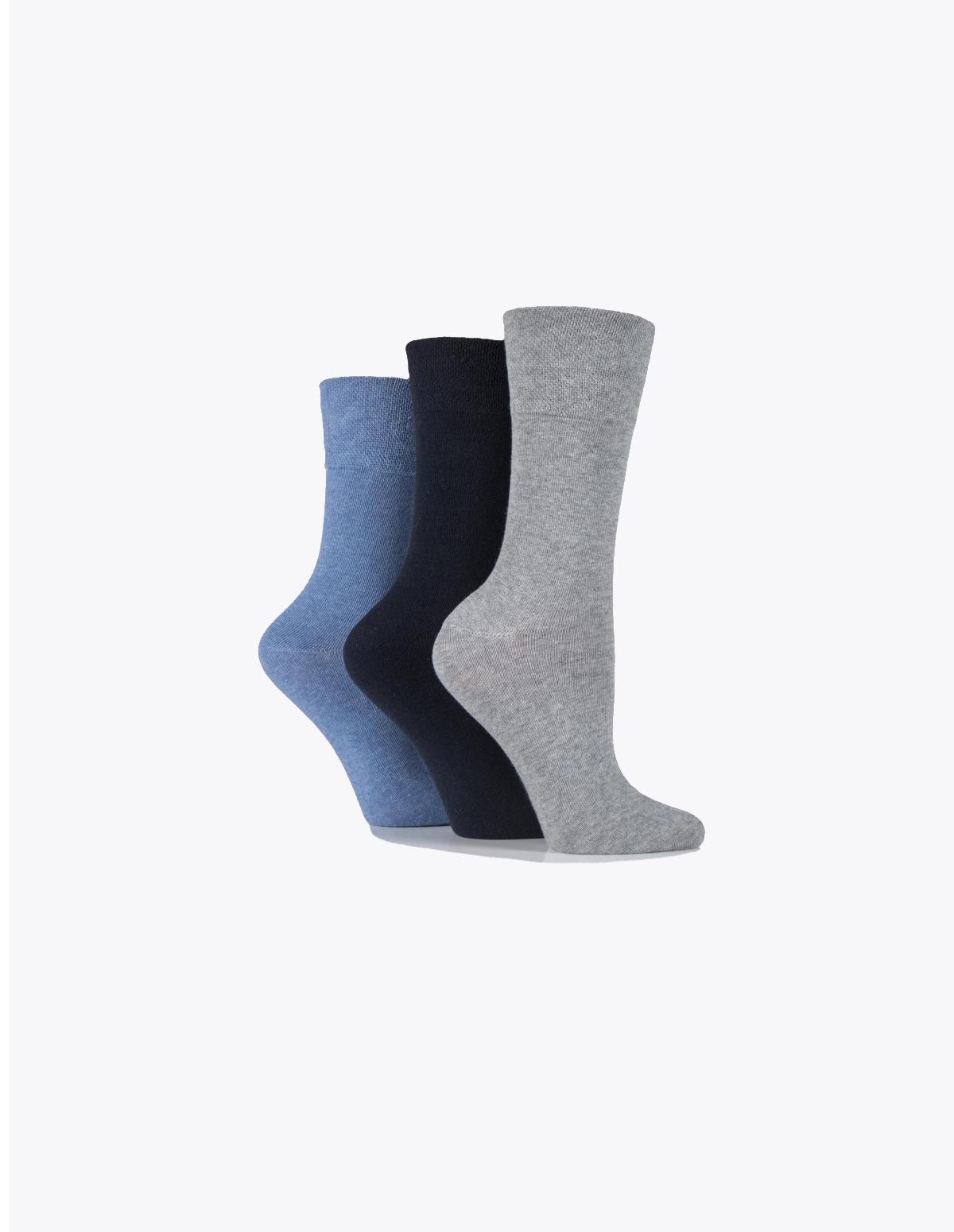 5aacaced1 Ladies Blue   Grey gentle grip socks Non elastic   diabetic friendly -