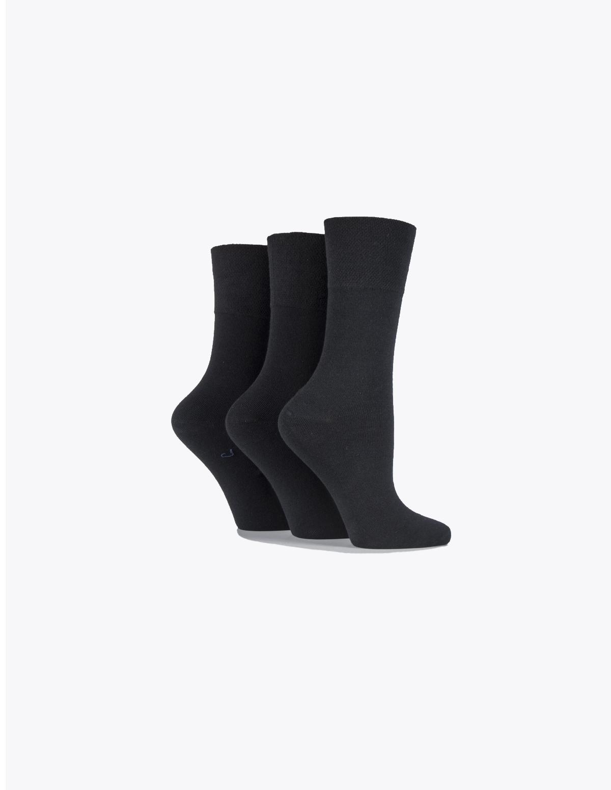8c75b85b4 Ladies Plain Black Gentle Grip socks (Non Elastic