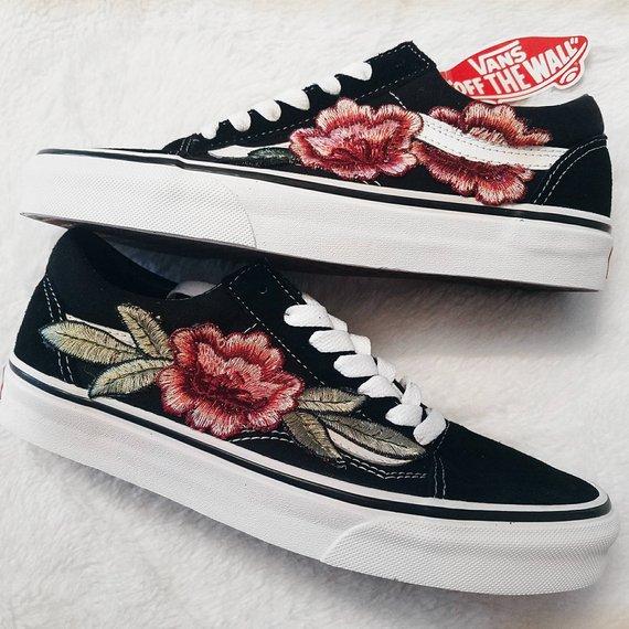 LOW TOP Rose Floral Embroidered Vans
